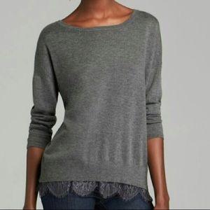 Women's Joie | Gray Hilano Lace Hem SweaterSize XS